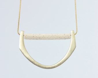 PETRA n.5 // BRONZE and speckled STONEWARE Necklace // ceramic jewelry