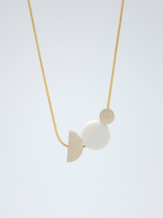 White Porcelain Necklace // Porcelain Jewelry // Geometric Jewelry by Etsy