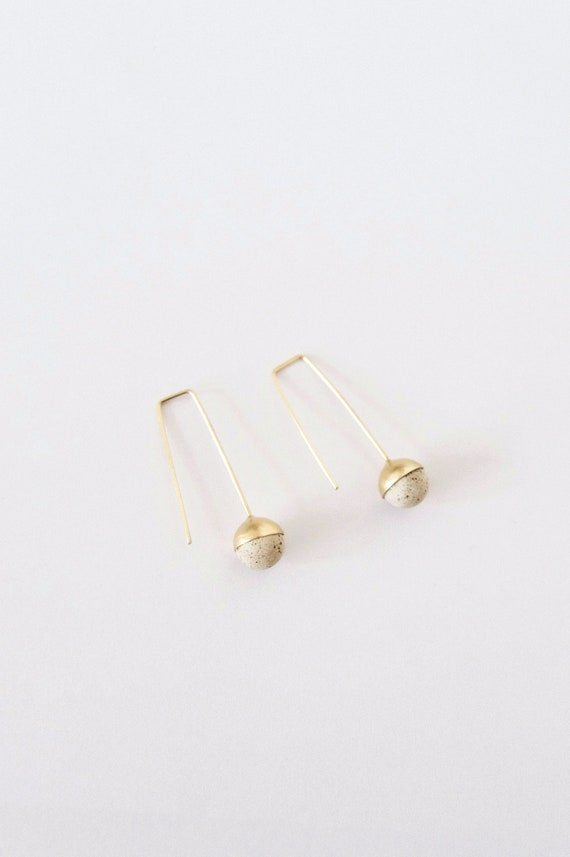 UPALA  Speckled stoneware and Silver Earrings  NEW COLLECTION