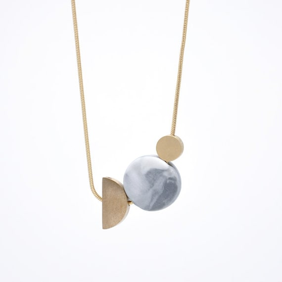 Two Moons // Marbled Porcelain Circle And Bronze // Necklace by Etsy