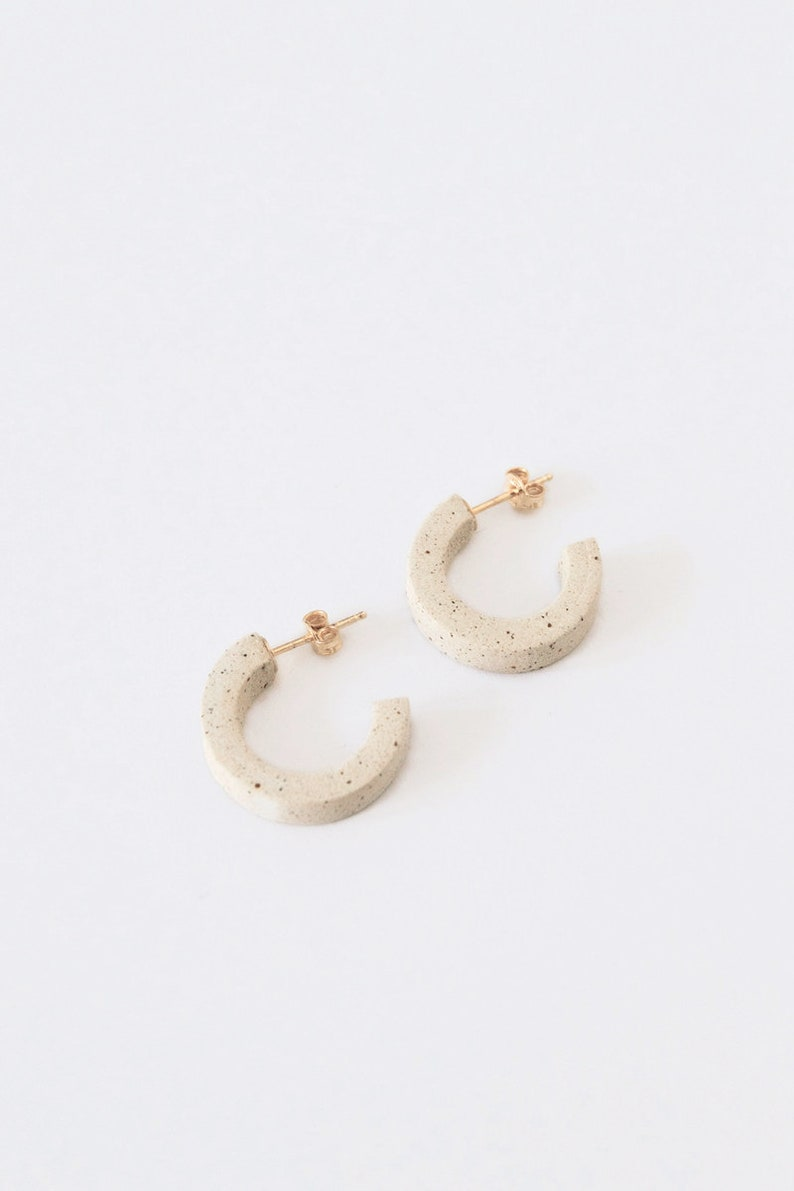 MITRA // Arc Earrings // Speckled Stoneware // NEW COLLECTION image 0
