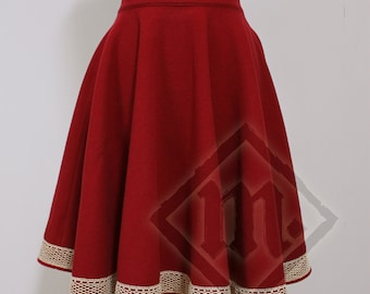 Warm Winter Woolen 50's Circle Skirt Red with Crochet Lace