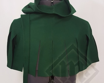 Dark Green Hand Sewn Dagged Hood