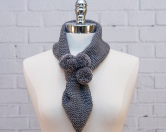 Stone Grey Pull-Through Merino/Cashmere Knit Scarf with Pom Poms