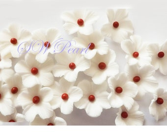 Sugar flowers etsy asian theme white apple blossoms sugar flowers wedding cake cupcake toppers mightylinksfo