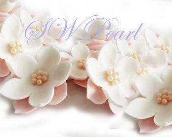Sugar flowers etsy pink white elegant sugar flowers set with pearl balls edible cake cupcake toppers wedding anniversary birthday mightylinksfo