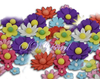 Colored Various Size Sugar Craft Flowers Set Edible Cake Cupcake Toppers