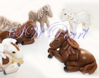 Sugar Paste Horse Edible Birthday Cake Cupcake Toppers