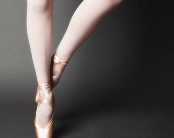 Dance Photography, Ballet Photograph, Pointe Shoes, Pink Satin, Gray Background, Wall Art, Home Decor, Ballerina - Right Pointe (square)