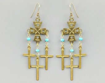 Turquoise Crystal & Cross Charm Earrings