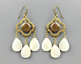 Pearl & Shell Teardrop Wire Wrapped Earrings