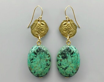 Green Turquoise & Coin Charm Earrings