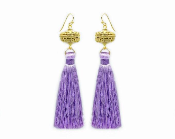 Moroccan Gold Bead Lavender Tassel Earrings