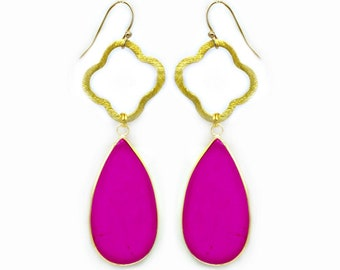 Hot Pink Howlite Teardrop Earrings
