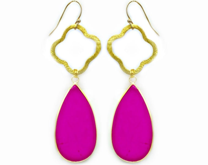 Featured listing image: Hot Pink Howlite Teardrop Earrings