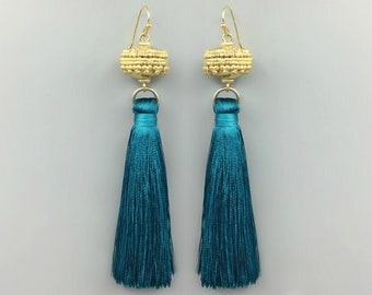 Moroccan Gold Bead Teal Tassel Earrings