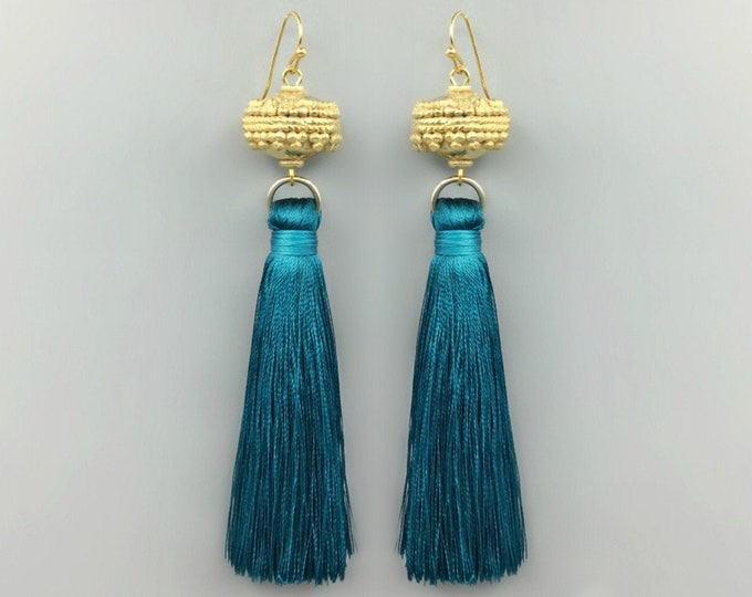 Featured listing image: Moroccan Gold Bead Teal Tassel Earrings