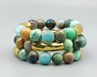 Multi Color Agate Beaded Bracelets With Brass Tube Beads