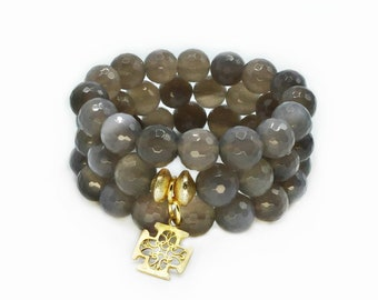 Grey Agate Three Strand Stretch Bracelets With A Cross Charm