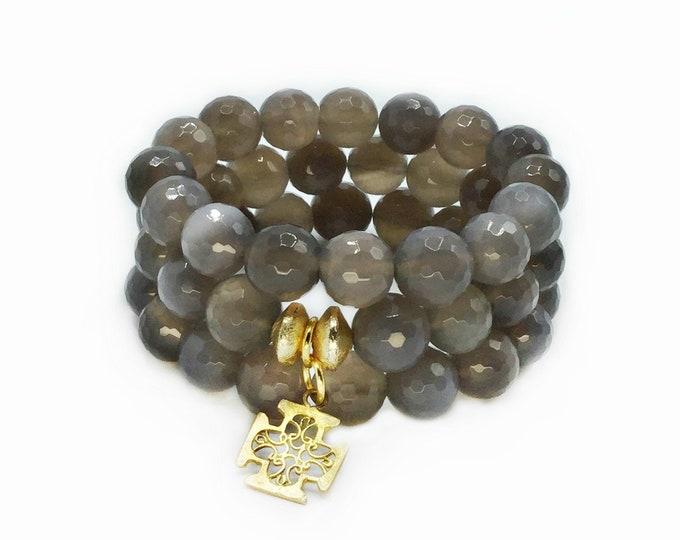 Grey Agate Three Strand Stretch Bracelets With A Cross Charm