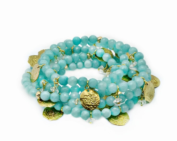 Five Strand Ocean Blue Agate Stretch Bracelets With Coin Charms