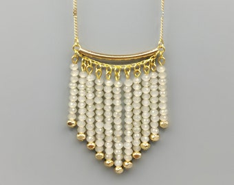 Opal Crystal Fringe Necklace