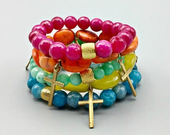 Five Strand Agate, Howlite & Jade Beaded Bracelets With Cross Charms
