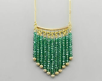 Emerald Green Crystal Fringe Necklace