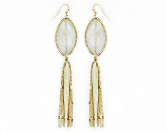 Tourmalated Quartz, Horn Spear & Chain Fringe Earrings