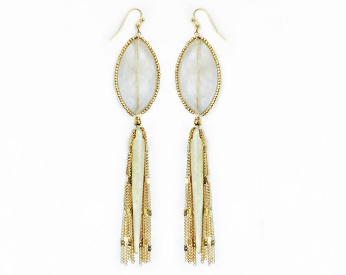 Tourmalated Quartz, Horn Spear & Chain Fringe Earrings