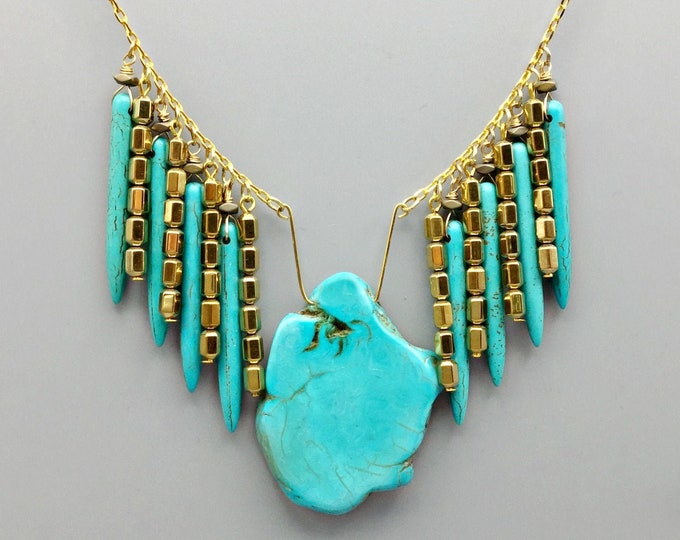 Turquoise Stone Necklace With Howlite Spikes & Gold Plated Copper Beads