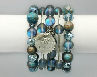 Agate & Matte Crystal Moonstone Bracelets With A Silver Coin