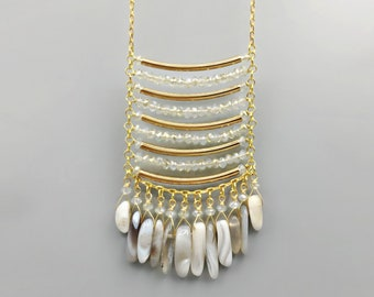 Pearl Crystal & Agate Fringe Necklace