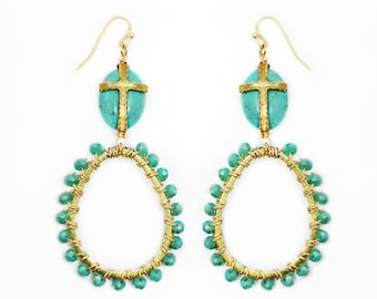Turquoise & Crystal Wire Wrapped Earrings With A Gold Cross