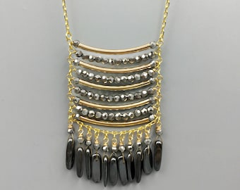 Silver Crystal & Hematite Fringe Necklace