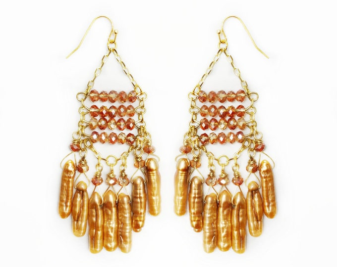 Tangerine Freshwater Pearl & Crystal  Chandelier Earrings