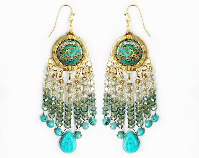 Agate Crystal & Turquoise Ombre Earrings