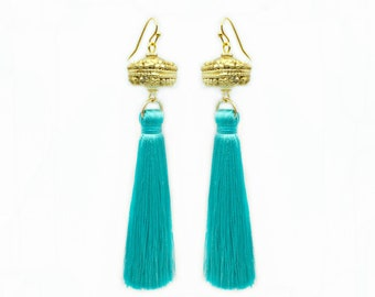 Moroccan Gold Bead Turquoise Tassel Earrings