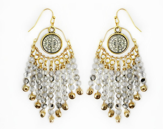 Grey Agate Chandelier Earrings With A Saint Medallion