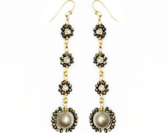 Pearl & Pyrite Wire Wraped Flower Earrings