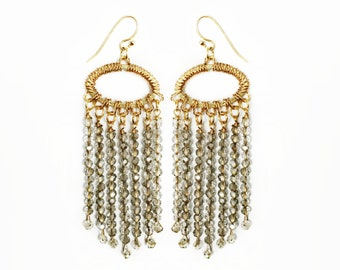 Silver Crystal Wire Wrapped Fringe Earrings