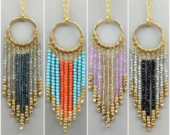 Crystal Fringe Necklace With Gold Beads