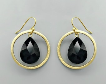 Jet Crystal Teardrop Earrings