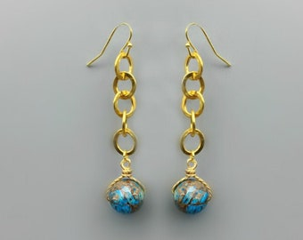 Agate Bead &  Gold Plated Brass Chain Earrings