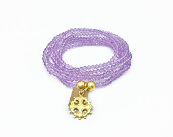 Lavender Crystal Wrap Bracelet With A Cross & Leather Charm