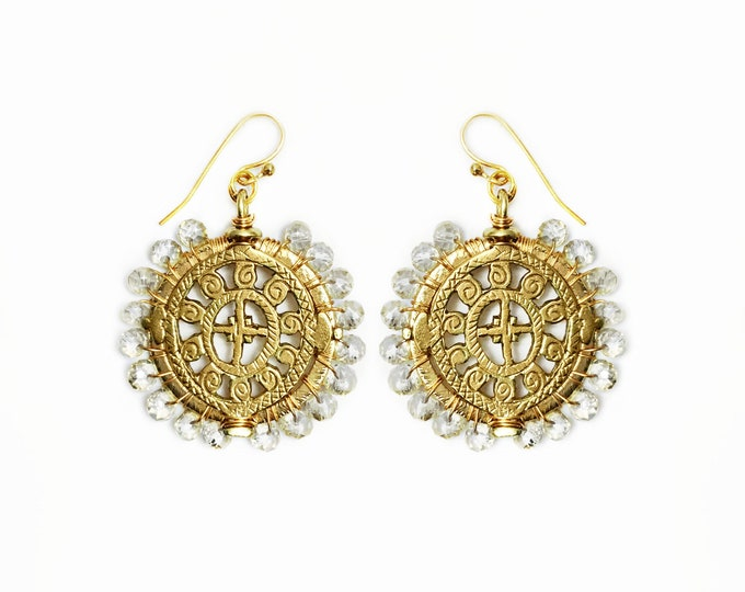 Crystal Wire Wrapped Medallion Earrings