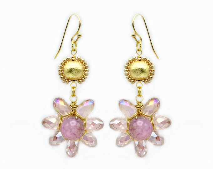 Pink Crystal Wire Wrapped Flower Earrings With An Agate Bead