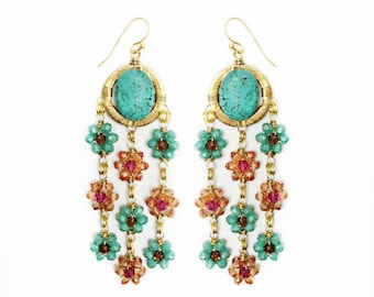Turquoise & Crystal Wire Wrapped Flower Earrings