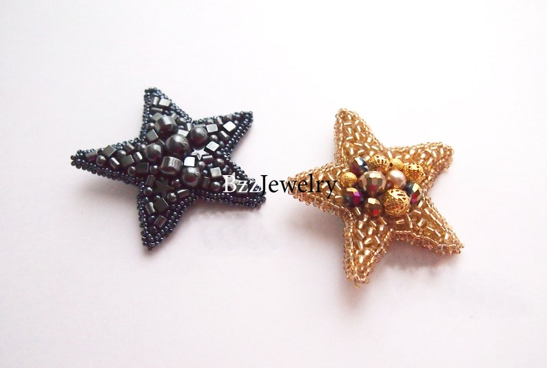 SET STAR brooches dolce brooch pin beaded jewelry embroidered birthday brooch handmade celestical brooch gift for her christmas present