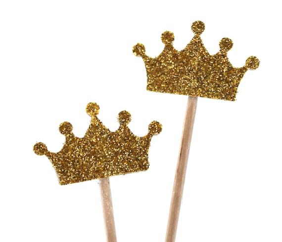 15 cupcake toppers gold glitter krone muffin dekoration etsy - Dekoration gold ...